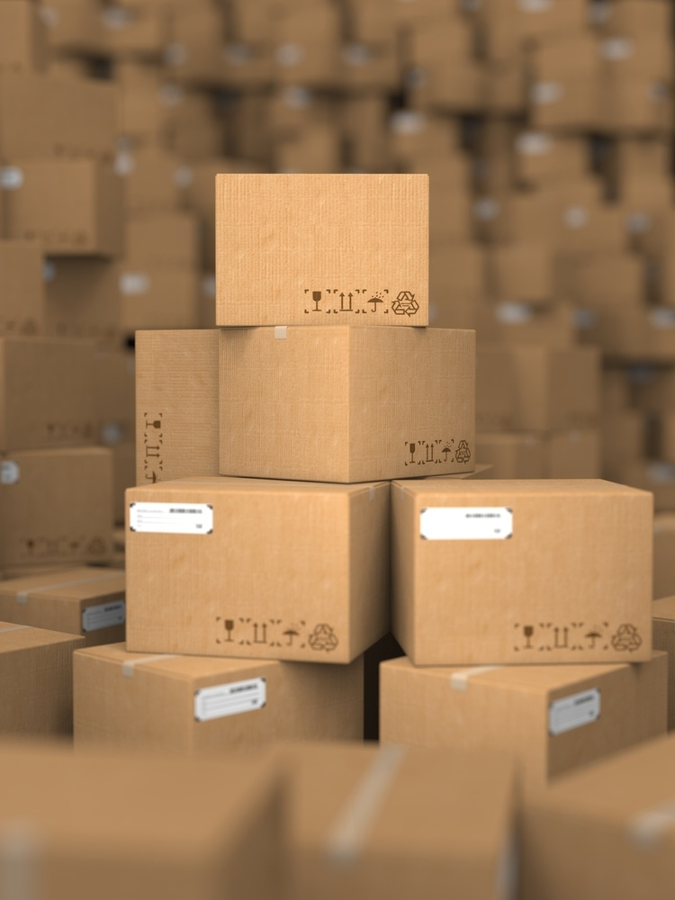 Stacks of Cardboard Boxes, Industrial Background.